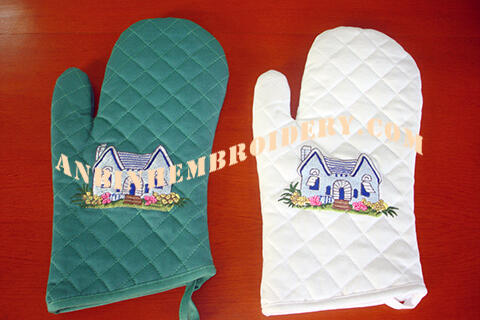 Oven Glover, Green or white cotton